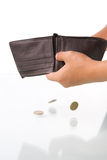 Only few coins left on the wallet Stock Image
