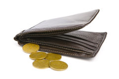 Few coins and the wallet Royalty Free Stock Photo