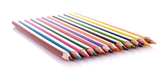 Few color pencils isolated Stock Photography