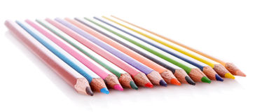 Few color pencils isolated Royalty Free Stock Photography