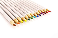 Few color pencils isolated Stock Images