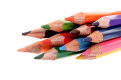 Few color pencils isolated Royalty Free Stock Image