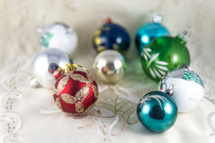 Few colorful christmas balls royalty free stock image