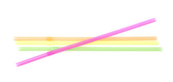 Few colorful drinking straws isolated Stock Photography