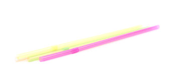 Few colorful drinking straws isolated Stock Image