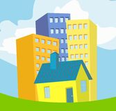 A few colorful houses. On background of blue sky Stock Photography