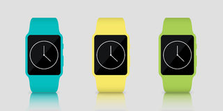 Few colorful smart watches with clock icon. Vector illustration. Green, yellow and blue smart watches on mirror surface Stock Photo