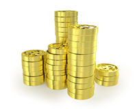 Few columns of coins. Few columns of golden coins  isolated on white Royalty Free Stock Photo