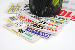 A few of coupons on the desk with pen holder Stock Photography