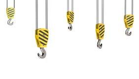 Few crane hooks. Isolated on white background Royalty Free Stock Photography
