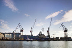 Helsinki shipyard. Few cranes and ship under construction, Helsinki shipyard stock photo