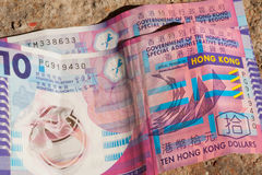 Few crumpled bills of Hong Kong dollar on ground Stock Images