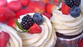 Few delicious fruit cupcake with white whipped cream and slices of fresh red and black berries stock video footage