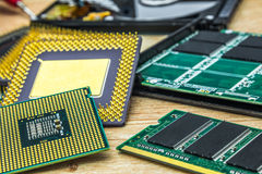 Few different processors also RAM memory module and SSD Royalty Free Stock Photos