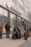 Protesters outside the Cuyahoga County Administration Headquarters in Cleveland, Ohio, USA. A few of the dozens of protesters who congregated outside the royalty free stock images