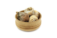 A few dried figs in a wooden bowl Royalty Free Stock Photo