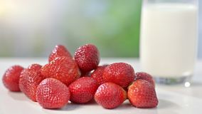 Few eco genuine red strawberries near big glass of milk at summer background close-up