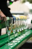 Few empty champagne glasses Royalty Free Stock Photos