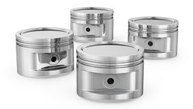 Few engine pistons. On white background Royalty Free Stock Photo