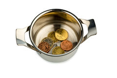 Saucepan and euro coins. A few euro coins in a pot, symbol photo for sovereign debt and financial needs Royalty Free Stock Photography