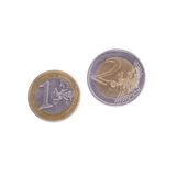 Few euro coins. On a white background Stock Images