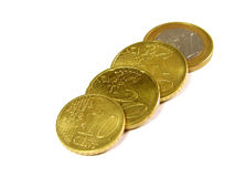 Few eurocoins. Euro-coins over white background Royalty Free Stock Photography