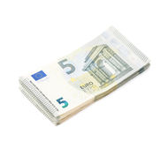 Few five euro notes isolated Royalty Free Stock Photos