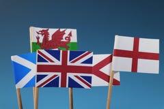 Few flaga stany Cztery członka zlany królestwo Szkocja, Anglia, Walia, północny Irlandia obraz stock