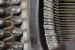 A few fonts and keys of retro writing machine Stock Photo