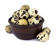 Quail eggs in a bowl isolated on white background. Few fresh quail eggs in a ceramic bowl isolated on white background Royalty Free Stock Photo