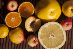 Few fruits on a tablet. Grape, apple, nektarine and satsuma, on a tablet Royalty Free Stock Photography