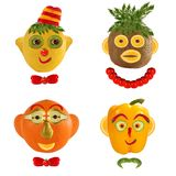 Few  funny portraits from vegetables and fruits. Stock Image
