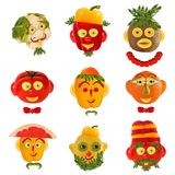 A few  funny portraits from vegetables and fruits Stock Photo