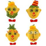 A few  funny portraits from vegetables and fruits. Royalty Free Stock Photography