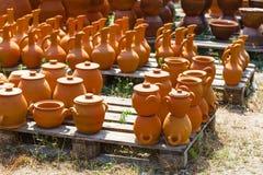 Georgian handmade clay jugs. Few Georgian handmade clay jugs Royalty Free Stock Photo