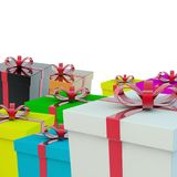 A few gift boxes. A gift for a holiday. 3d rendering Royalty Free Stock Photography