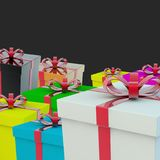 A few gift boxes. A gift for a holiday. 3d rendering Stock Photography
