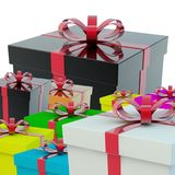 A few gift boxes. A gift for a holiday. 3d rendering Royalty Free Stock Photos