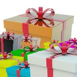 A few gift boxes. A gift for a holiday. 3d rendering Royalty Free Stock Images