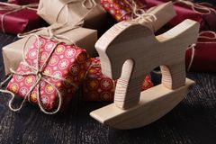 Few giftboxes on wooden table Royalty Free Stock Photography