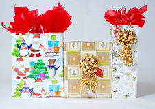 A few Gifts. An image of a few nicely wrapped gifts placed side by side Stock Photo