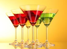 A few glasses of alcoholic drinks Royalty Free Stock Photography