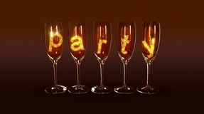A few glasses with the text party Stock Image