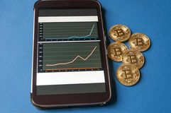 Few gold coins of bitcoins lie on the table in front of and next to the tablet on which charts of Bitcoin`s cost Royalty Free Stock Photos