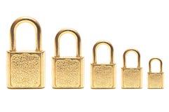 A few golden padlocks Royalty Free Stock Photos