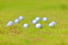 A few golfballs on the grassland Royalty Free Stock Photos