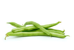 Few green french beans. Isolated on the white background Stock Photography