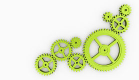 Few green gears isolated Royalty Free Stock Photography