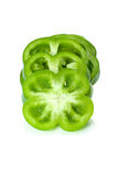 Few green sweet pepper slices. Isolated on the white background Royalty Free Stock Images