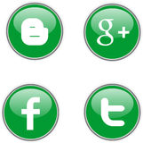 Social green web icons Stock Images